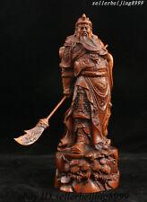 China Boxwood Wood Dragon Guan Gong Yu Warrior God Kwankung Pavilion Ares Statue