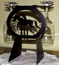 New Equestrian Wine (2) Glass with Black Detailed Wine Rack Holder