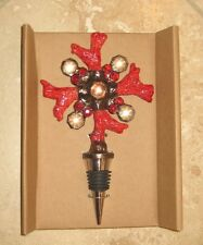 POTTERY BARN ~ RED CORAL BOTTLE STOPPER IN GIFT BOX ~ WINE ~ HOME DECOR