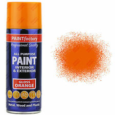 1 x 400ml All Purpose Orange Gloss Aerosol Spray Paint Household Car Plastic