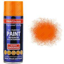 5 x 400ml All Purpose Orange Gloss Aerosol Spray Paint Household Car Plastic