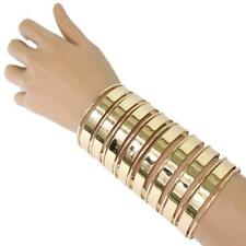 "7"" gold long cage tunnel cuff bracelet bangle 4.50"" wide"