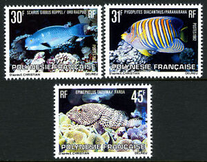 French Polynesia 355-357, MNH. fish. Parrot-fish, Regal angel, Spotted bass,1982
