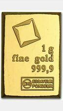 1 Gram Gold Bar • Valcambi Combibar Suisse Gold 24KT .9999 Fine • NEW