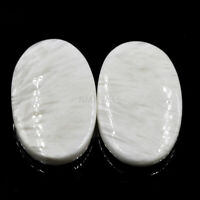 Cts. 30.70 Natural Scolecite Match Pair ( 26 X 16 MM) Cabochon Oval Gemstone