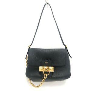 Mulberry Mini Keeley Handbag Black Leather Gold Metal Chain Bag Designer 301384