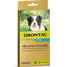 Drontal Allwormer Chewables for Dogs 10kg 5 chews Dog Dogs Pet Pets