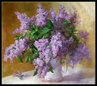 Lilacs in a Vase 4 - Chart Counted Cross Stitch Pattern Needlework Xstitch Craft