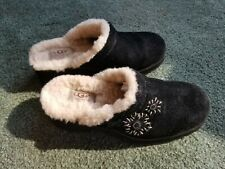 UGG Black Suede Slip on Mules Clogs Winter Fall Sheepskin Lined Sz 7 Women