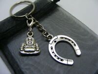Lucky Horseshoe & Buddha Charm Keyring With Gift Bag