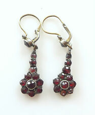 Vtg Victorian Rose Cut Bohemian Garnet Gold Gilt Dangle Drop Child's Earrings