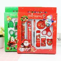 9pcs Pencil Ruler Eraser Sharpener Scissor Stationery Christmas Gifts Set