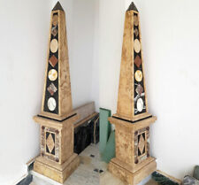 ROMAN MARBLE COLUMNS [ca.190cm je SÄULE] - PIETRA DURA OBELISKEN PAAR aus MARMOR