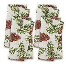 NEW St Nicholas Square Pinecone Fabric 4-Piece Napkin Set Christmas Holiday