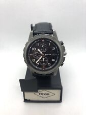 Fossil Men's Watch FS4867 Stainless Steel 5ATM Black Dial Black Leather Band
