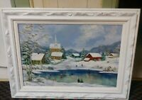 Huge Folk Art Primitive Landscape Handmade Carved Wood Frame Vintage LOCAL P/U