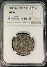 Tunisia - 2 Francs Ah 1339/1920 Paris - NGC IN The 58 - 303 Copies Rare
