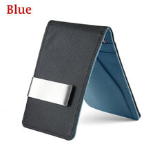 Fashion Men Black Leather Money Clip Slim ID Credit Card Holder Purse Wallet Blue