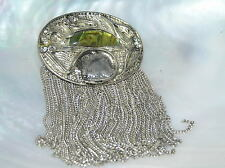 Estate Large Silvertone Oval with Half Moon Abalone & Chain Dangles Pin Brooch –