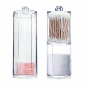 Acrylic Multifunctional Round Qtip Container Cosmetic Makeup Cotton Pad Jewelry