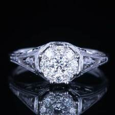 Natural Diamonds Antique Style Wedding Ring Solid 10K White Gold Cluster Setting