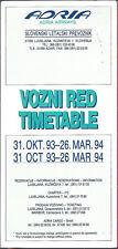 Adria Airways system timetable 10/31/93 [7021]