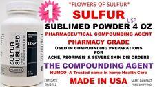 HUMCO SULFUR SUBLIMED POWDER USP 4 oz *FLOWERS OF SULFUR* Exp. Date 08/2022 (1)