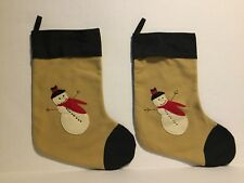 Victorian Heart Lot Of Two Snowman Stockings Brown Black Soft