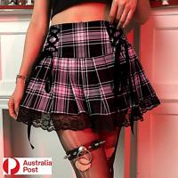 High Waist Short Plaid Tartan Lace Up Goth Y2K Pleated Skirt Dancewear Zip Mini