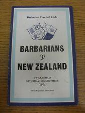 Programma di rugby 30/11/1974: i Barbari V Nuova Zelanda [a Twickenham] (Ligh