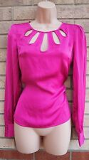 NEW LOOK CUT OUT NECKLINE PINK FUCHSIA SILKY FEEL BLOUSE TUNIC TOP CAMI 6 XS