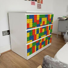 IKEA 3 DRAWERS MALM Lego Bricks Removable Textile Sticker for furniture