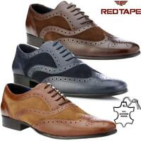 Mens  Leather Two Tone Formal Office Smart Work Lace Up Oxford Brogue Shoes Size