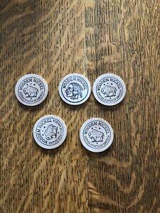 (5) Vintage Wooden Nickels St Ansgar Iowa Dreyer Drug CO. (5cent)