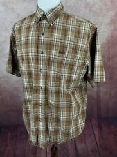Carhartt Short Sleeve Button Down 100% Cotton Brown Check Plaid Shirt Men's L