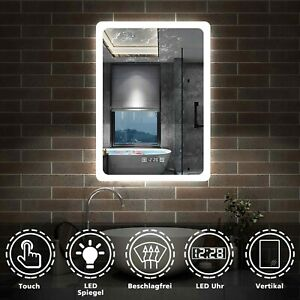 Badspiegel mit LED Beleuchtung Touch Spiegelheizung UHR Badezimmerspiegel Licht