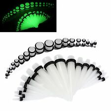 Ear Stretching Kit Glow Tapers with Plugs - 36 Pieces 14G - 00G UV Glow Acrylic