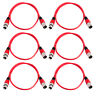 Grindhouse 6 Pack of 3 Foot Red XLR Patch Cables - XLRF to XLRM Mic Cords