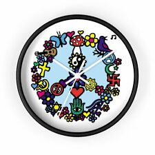 Peace Sign Hippie Symbols and Signs Trendy Wall Clock