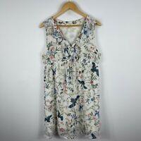 H&M Womens Dress Large Floral Sleeveless V-Neck