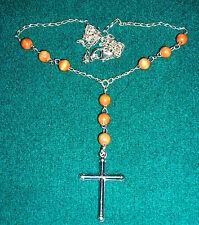 Pendente a croce catena massiccio Sterling Argento 925 ROSARIO COMUNIONE 50cm