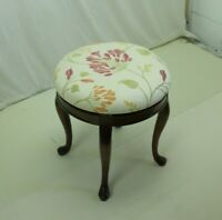 Charming Cherry wood Queen Anne Vanity Stool With Spinning Seat