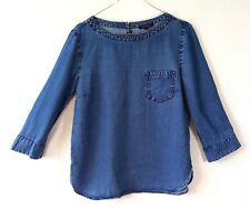 Marc O'Polo Womens Top Chambery Denim Blouse Size 36 S Pocket 3/4 Sleeved Casual