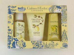CRABTREE & EVELYN Citron Honey & Coriander Gel Lotion Hand Therapy Gift Set NIB