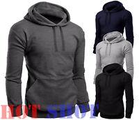 New Mens Plain Fleece Hooded Hoodies Casual Gym Workwear Top Jumper Sweatshirt P