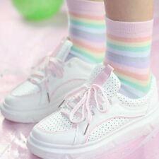 Ladies Ankle Socks Pastel Rainbow Stripes - LS0069