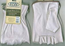 Rugged Wear Men Half Finger Grain Cowhide Leather Work Wrist Glove Ivory Unlined