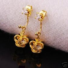 Gold Plated Golden Crown 2 Way Earrings