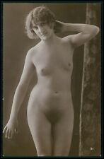 French full nude woman small breasts open curtain old c1910-1920s photo postcard