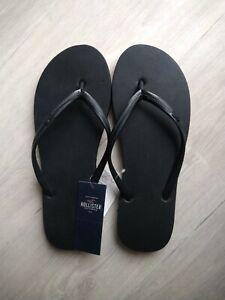BNWT Hollister UK 5 6 Flip Flops Sandals Black Foam